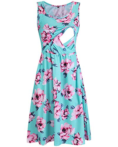 OUGES Womens Sleeveless Summer Floral Maternity Dresses Nursing Gown Breastfeeding Clothes(Floral01,M)
