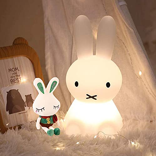SHUI Miffy Conejo LED Luz Nocturna, Dormitorio De Silicona Luminoso para Niños Decoración De La Luz De La Noche Colorida, Adecuado para Regalos Infantiles, Lámparas De N 50cm
