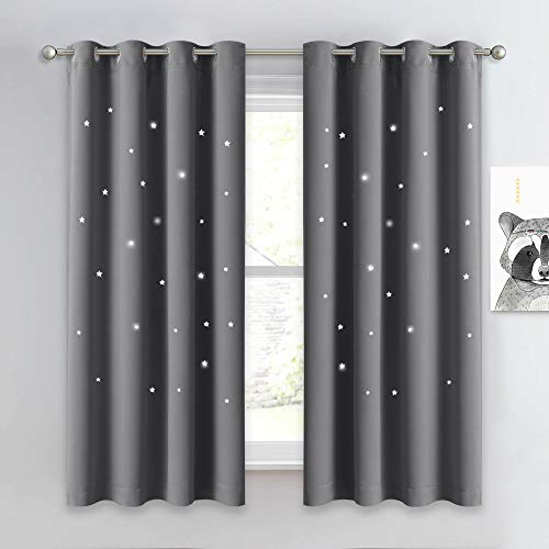 NICETOWN Hollow Star Blackout Curtain - Magic Night Sky Twinkle Star Nap Time Essential Kids Bedroom Window Curtain Drapery for Kids Room / Baby Nursery (Grey, 1 Panel, W52 x L63-inches)