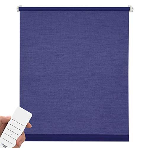 Kirsch Innovation Elektrisches Rollo für Fenster, Klemmfix ohne Bohren, Sichtschutz & Sonnenschutz mit Akku, Tageslichtrollo lichtdurchlässig – 100x150 cm blau – Klemmträger
