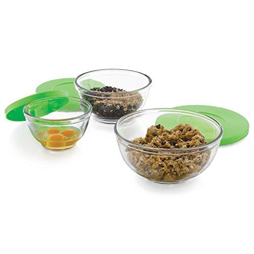 Libbey Baker's Basics 3-Piece Glass Mixing Bowl Set with Plastic Lids, Multi-Size
