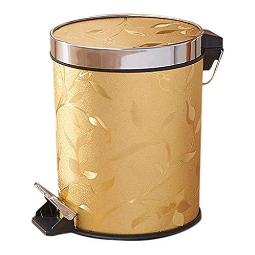 JUIO Cubo de basura con pedal, estilo europeo con pedal de lirio dorado cerrado antibacteriano impermeable, cubo interior de plástico portátil, 13 l