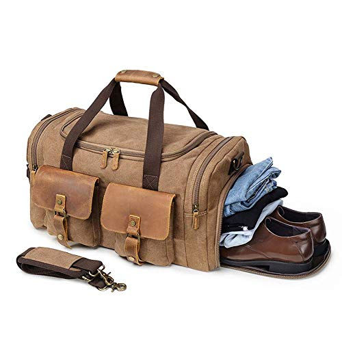 Kemy's Canvas Duffle Bag for Mens Oversized Overnight Bags Weekend Duffel Weekender Travel Bags...