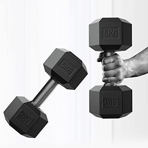 ダンベル 5kg×2個セット (10kg)/7.5kg×2個セット (15kg)/10kg×2個セット (20kg) ポリエチレン製 筋力トレーニング 静音HLJBJ (5kg×2個セット (10kg) HLJ-001)