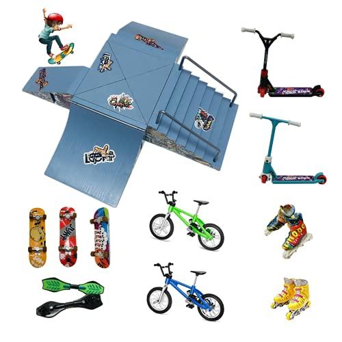 Juego de 21 rampas de patinaje para dedo incluyendo 8 rampas de skate, 3 patinetas de dedo, 2 bicicletas, 2 scooters, 4 patines, 2 tablas de ruedas para mini dedo juguetes deportivos