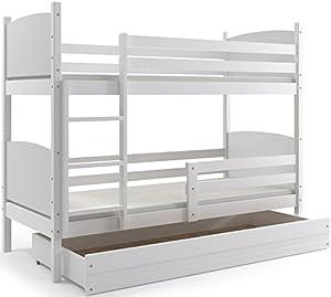 Interbeds Cama Doble - litera Infantil,Tami, 160X80, Color Blanco, los Paneles (colchones,somieres y cajón Gratis) (Blanco)