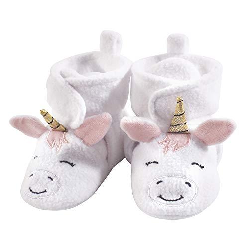 Hudson Baby Unisex Cozy Fleece Booties, White Unicorn, 6-12 Months