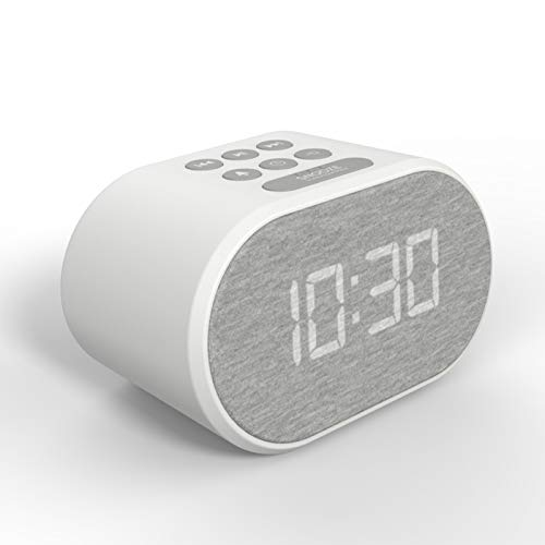 Alarm Clock Bedside Non Ticking LED Backlit Alarm Clock with USB Charger & FM Radio, 5 Step Dimmable Display - Wall Outlet Powered with Battery Backup (White)