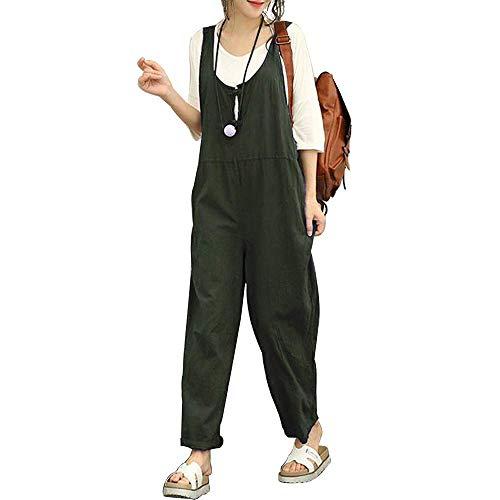 Salopette Lino Lunga Casual Donna Pantaloni, Morbuy Nuovo Moda Senza Maniche Harem Jumpsuit Ragazza Overall Hippie Sciolto Cinturino Tuta con Tasche (L,Army Green)