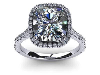 Verlobungsring für Damen, 2,40 Karat Polster, Brillantschliff, Moissanit, 14 Karat Weißgold, Ringgröße N 1/2