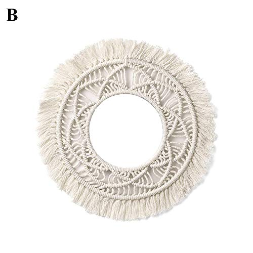 tianxiangjjeu Tapestry Nordic Round Cotton Rope Hand Woven Exquisite Handmade Crafts Wall Hanging Tassel Home Room Decor White B