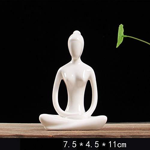 Wuqing Figura Abstracta Figura De Yoga De Cerámica 12 Estilo Abstracto Mujer Yoga Esmalte En Miniatura Blanco YOG Estatuas Figuras De Postura De Yoj Escultura De Adorno para El Hogar, Meditación-1