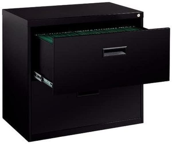 Hirsh SOHO 2 抽屉侧面文件柜黑色完全组装