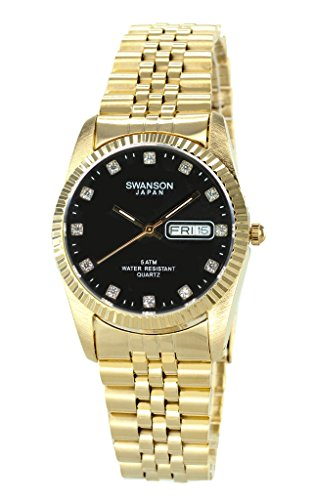 Swanson Men's Gold Day-Date Watch Stone Black Dial