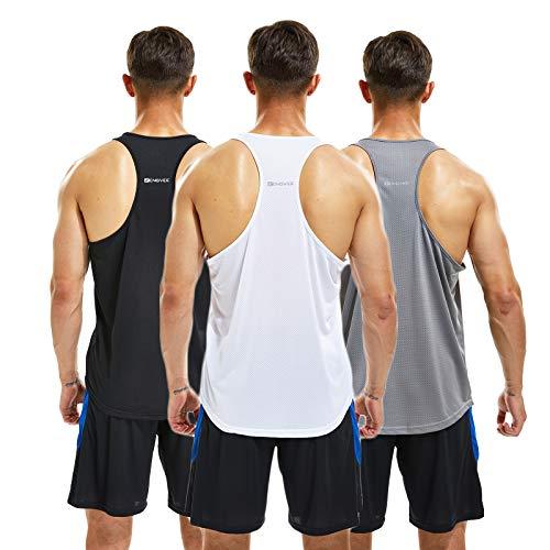 frueo 3 Piezas Camiseta Ttirantes Hombre Deport Camiseta Sin Mangas Tank Top Gym de Secado Rápido para Running Fitness Entrenamiento,20418,Black Gray White,2XL