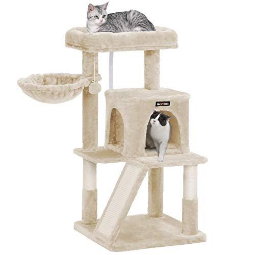 FEANDREA キャットタワー 大型猫 天然サイザル 広いハウスとハンモック付き 多頭飼い 安定性抜群 クリスマス