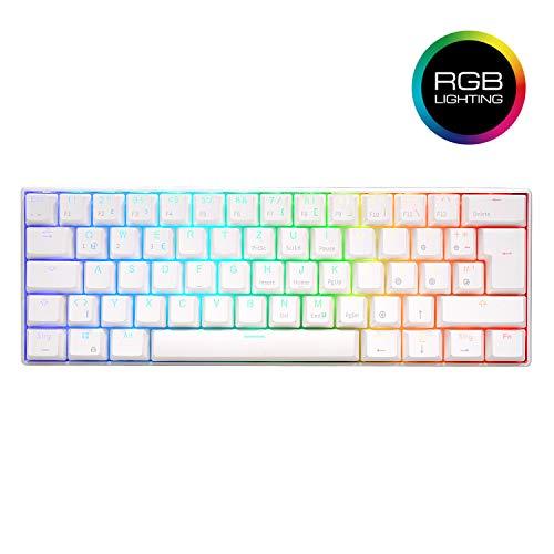 RK ROYAL KLUDGE RK61 60% mechanische Gaming-Tastatur, ultrakompakte 61-Tasten-Bluetooth-Tastatur mit RGB-Hintergrundbeleuchtung Gateron Blauer Schalter 1450 mAh Batterie weiß (QWERTY-Deutsches Layout)