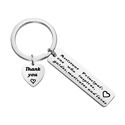BAUNA Principal Appreciation Gifts School President Appreciation Keychain Principal One Who Inspires Guides Motivates and Loves