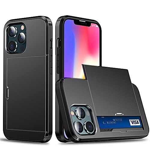 GHC Fundas y fundas para iPhone 13 Mini, Armor Slide Card Slots Holder Cover Case para iPhone 13Mini (color: negro, material: iPhone 13 Mini 5.4)
