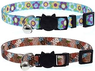 Skull Flower Collar Adjustable Breakaway Pet Collar with Bells,Set of 2