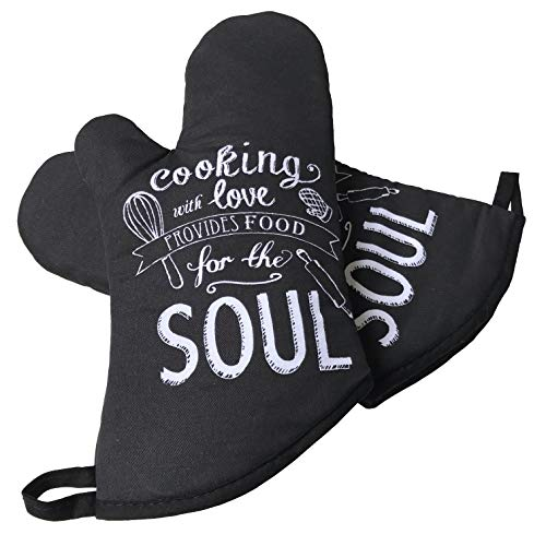 GREVY 2er Set Ofenhandschuhe Baumwolle Backhandschuhe,Schwarz mit Aufschrift:cooking with LOVE provides FOOD for the SOUL.