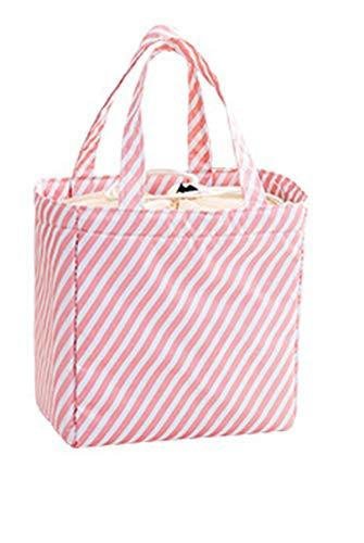 I3CKIZCE Bolsa porta alimentos para el almuerzo, bolsa térmica de pícnic, portátil, impermeable, con revestimiento aislante para escuela, trabajo, camping, playa Rosa Blanco Stripes 20*20*13 cm