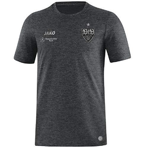 JAKO Erwachsene VfB Stuttgart Premium T-Shirt, anthrazit meliert, XL