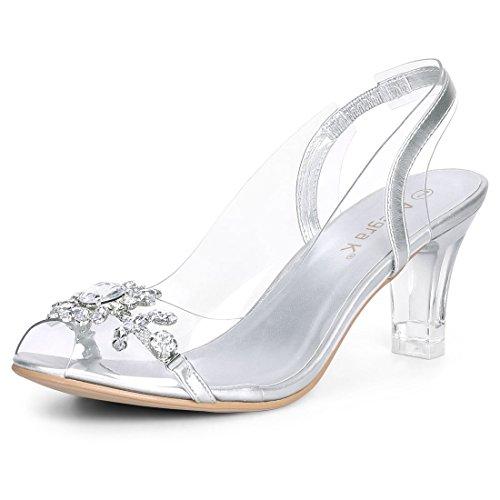 Allegra K Sandalias De Tacón Dedo Visible con Tacón Diamantes De Imitación De Flor Transparente para Mujer Plata 40 EU
