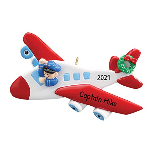 Personalized Airplane Christmas Tree Ornament 2020 - Captain Flying Red Flight Green Wreath Cockpit Aviation Cabin Crew Way Trip Craft Toy First New Job Tradition Year - Free Customization
