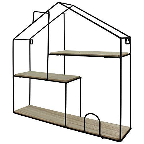 TW24 Setzkasten Regal Haus Form Wandregal Metall Holz groß Schweberegal Schwarz Hängeregal