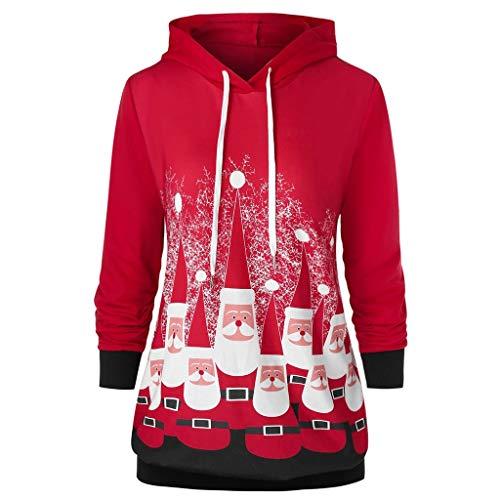 LoveLeiter-Weihnachten Kapuzenpullover Damen Langarm Weihnachtspullover Sweatshirt Langarm Santa Drucken Christmas Hoodie Kapuzen Oberteil Weihnachtspulli Loose Longpullover