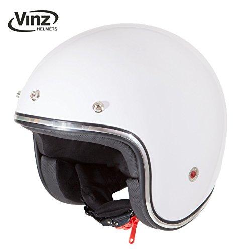 Vinz Rollerhelm Jethelm Fashionhelm | Motorradhelm Vintage in Gr. XS-XL | Jet Helm mit Sonnenventil | ECE zertifiziert (M, Weiß)