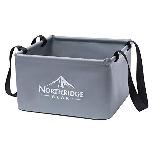 Falteimer Faltschüssel Spülschüssel | Camping Angeln Garten Party | Einsetzbar als Faltbare Wasch-Schüssel, Wasserkanister oder Faltbarer Eimer | Grau, 15L
