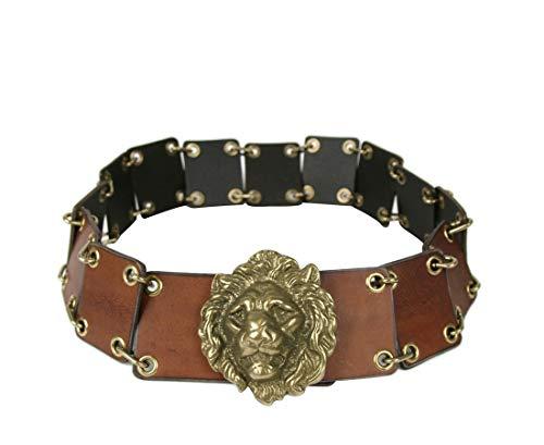 Saint Laurent Men's Rustic Brown Leather Eyelet Chain Buckle Belt 440835 2048 (80/32)