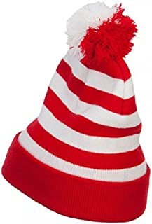 e4Hats.com Striped Pom Pom Cuff Long Beanie - Red White OSFM