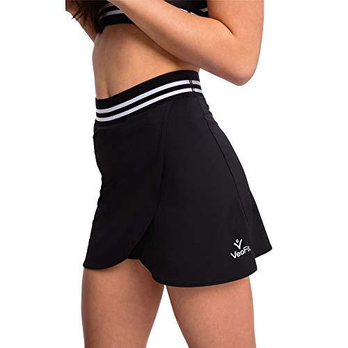 VeoFit Pantagonna Donna- Gonna Tennis con Pantaloncino -Gonna Sportiva Donna Golf, Yoga, Pilates, Danza- Gonnellino Comodo, Traspirante, Vita Alta e Tasca - Design Francese-S