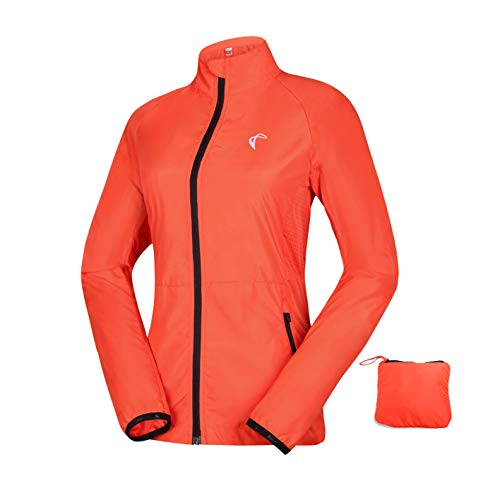 Women's Packable Windbreaker Jacket, Lightweight and Water Resistant, Active Cycling Running Skin Coat, Orange L