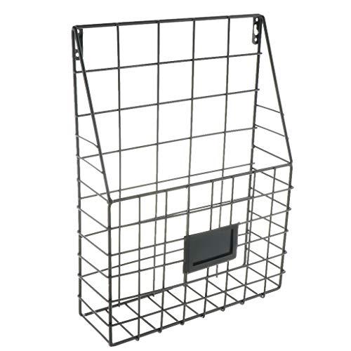 HomeDecTime Wandorganizer Metall Korb Zeitungsständer Magazinhalter Zeitschriftenhalter für Zuhause Büro - Schwarz