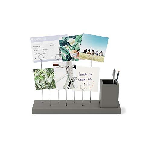 Umbra Gala Tisch Fotohalter mit 7 Foto Clips und integriertem Behälter für Stifte oder Pflanzen, Holz, Grau, Einheitsgröße