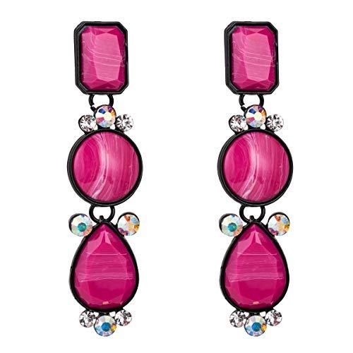 Mu Mianhua Pendientes Pendientes exagerados de Europa y América Pendientes de Diamantes de múltiples Capas de Resina Joyería de Moda Simple con Pendientes de Estilo INS for Mujeres (Color : Pink)