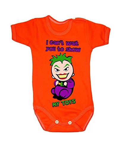 Couleur Mode bébé Joker bodies à manches courtes 100% coton Petit bébé – 24 mois – 0006 Orange 0-3 months, 62 cm