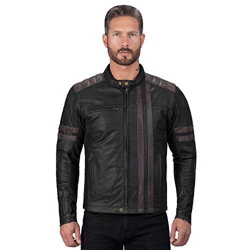 Viking Cycle Britannica Riding Leather Motorcycle Jacket for Men (Small)