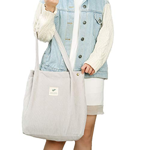 Gophra Corduroy Tote Bag for Women Girls Kids Shoulder Bag with Inner Pocket For Work Beach Lunch Travel And Shopping Grocery (Grey)
