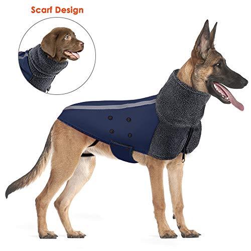 Lukovee Winter Dog Coat, Warm Turtleneck Scarf Polar Fleece Lining Doggie Outdoor Jacket Reflective Stripe Adjustable Waterproof Windproof Puppy Vest Soft Pet Outfits for Dogs (Large, Dark Blue)