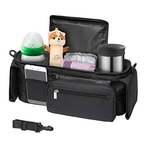 Canamite - Organizador para cochecito de bebé, bolsa organizadora de pañales con portavasos, correas ajustables para adaptarse a la mayoría de cochecitos, regalo de baby shower, gran espacio de almacenamiento para iPhones, pañales, juguetes