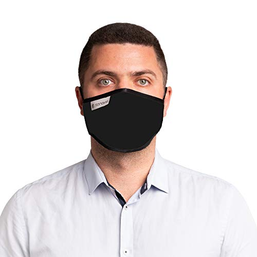 SonoMask für Männer (Ohrschleife, Schwarz) Nasenbügel verstellbare, Wiederverwendbare Atemschutzmasken. waschbare Gesichtsmasken-Abdeckung, zweischichtiger durch Sonovia Tech Made in Israel