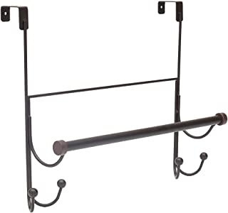 Home Basics Over The Door Towel Bar with Hooks | Made from Steel | Long Center Bar | Fits Most Standard Doors | (Oil-Rubbe...
