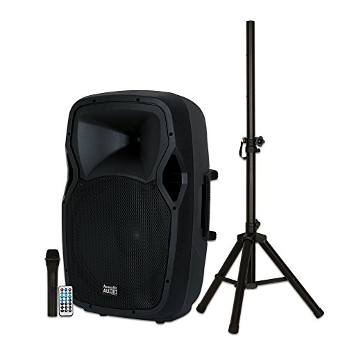 """Acoustic Audio by Goldwood AA15BS Rechargeable Battery Powered Portable Bluetooth 15"""" Wireless Mic and Speaker Stand, Black, 16"""" x 14"""" x 27"""""""