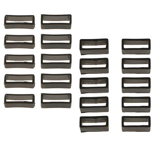 F Fityle 20x Correa de Reloj Bucle de Aro PVC Caucho de Silicona Soporte de Retención de Hebilla 20 / 22mm