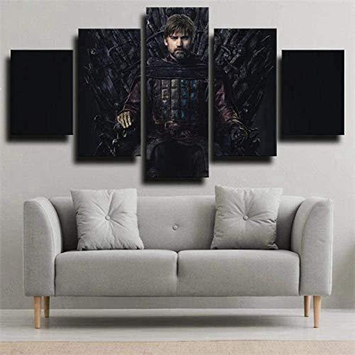 Juego de Tronos Lienzo de 5 piezas, lienzo de fieltro, impresión HD, póster de película para dormitorio, decoración de pared, bar, cafetería, pintura decorativa (4,(20 x 35 x 2-20 x 45 x 2-20